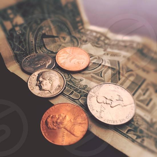 money coins finance dollar bills savings bank financing  photo