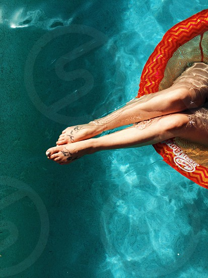 Legs water pool summer summer vibes babe tattoos sexy photo
