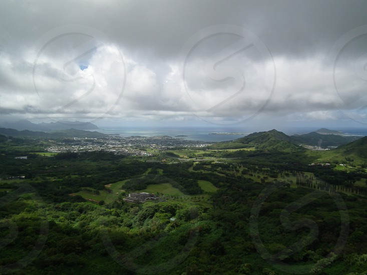 aerial view mountain valley gray sky photo