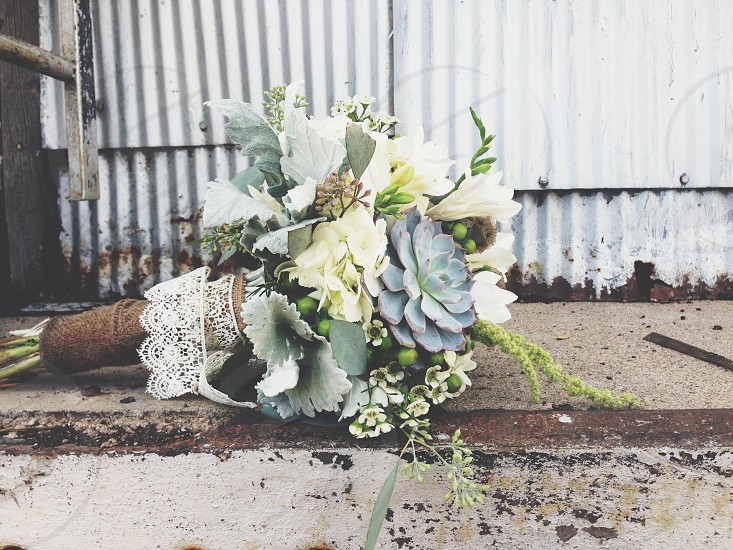 Wedding floral grunge industrial faded photo