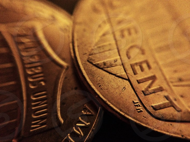Money coins penny pennies currency copper United States photo