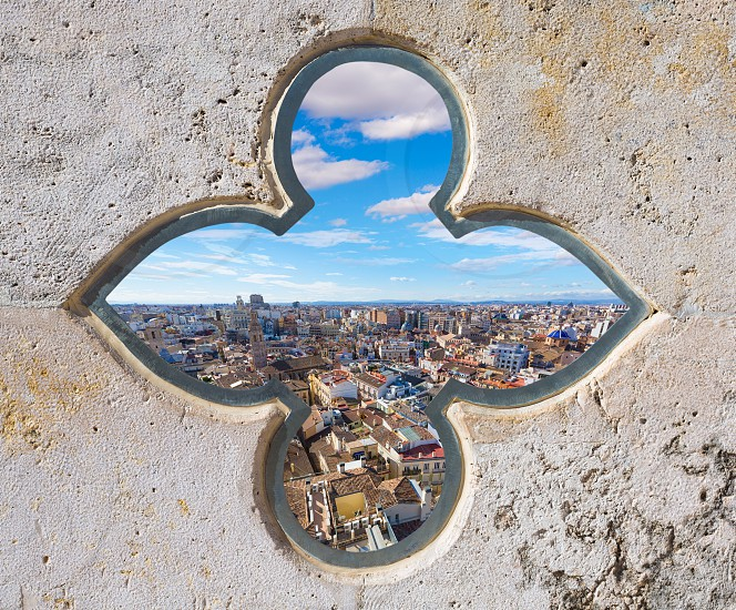 Valencia aerial skyline from el Miguelete tower of Spain photomount photo