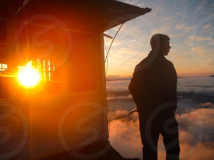High elevation 13000 feet mountain sunrise beauty taking it in experience thinking wonder washington three peaks  photo
