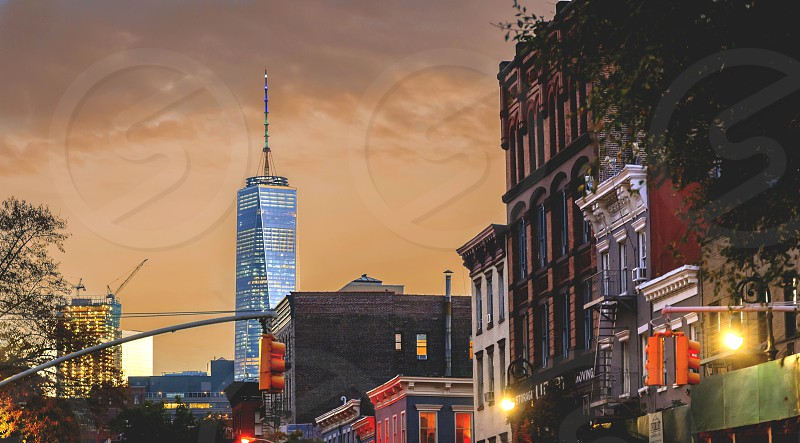 View of the New York skyline from the Greenwich Village district photo