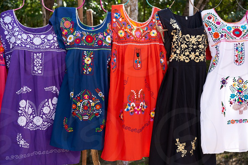 Chichen itza embroided dresses in outdoor shop Mexico Yucatan photo