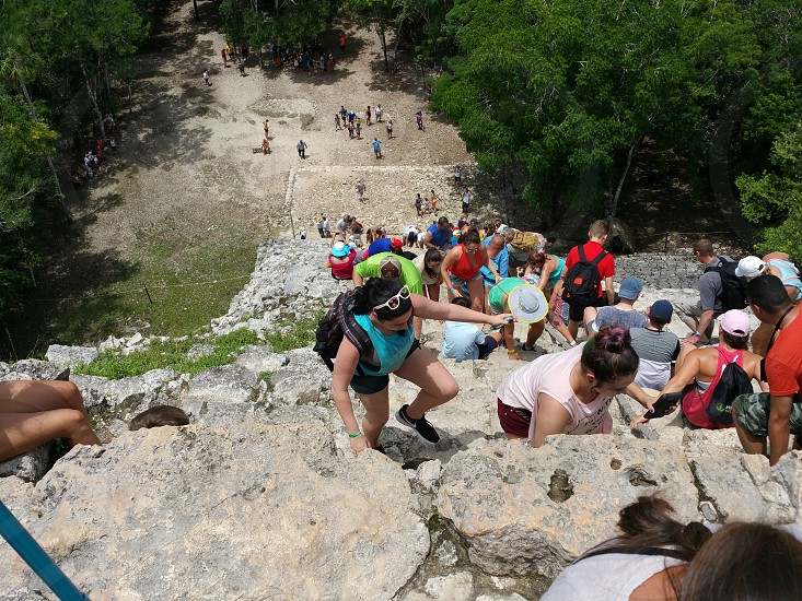Climbing Temples of Coba Mexico photo