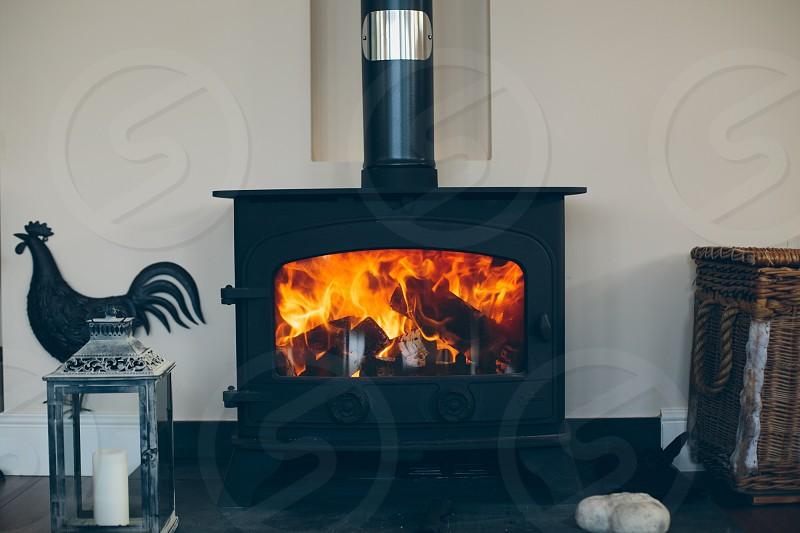 Woodburner fireplace. photo