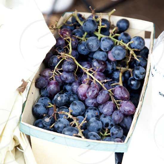 Purple grapes on stems in box photo