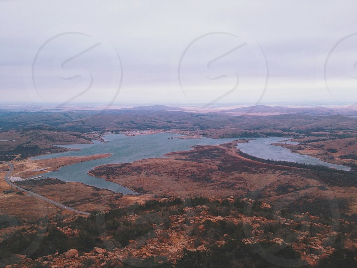 aerial view of a lake photo