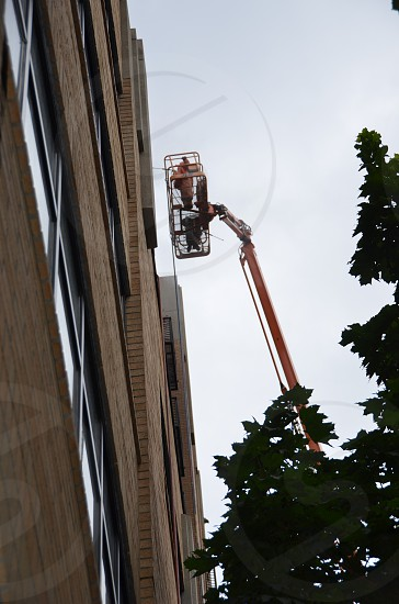 Maintenance of tall building scaffolding photo