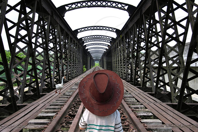 child in white and green striped shirt wearing brown hat standing in the middle of train rail near swan under grey sky during daytime photo
