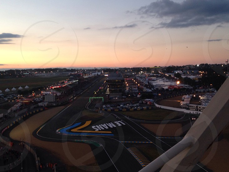 Circuit Le Mans at sunset.  photo