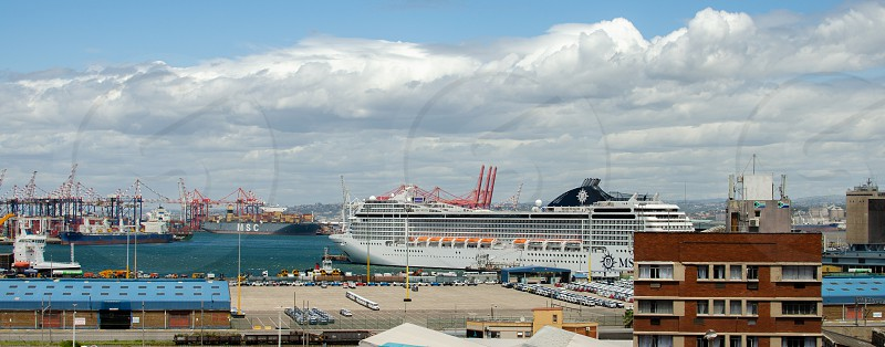 The MSC Musica at anchor in Durban's harbour makes a stunning lanscape image. photo