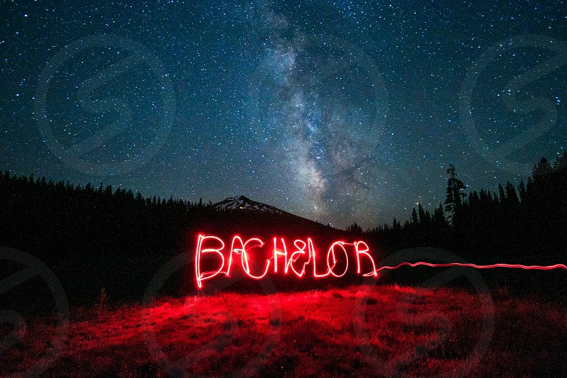 Mt. Bachelor light painting.  photo