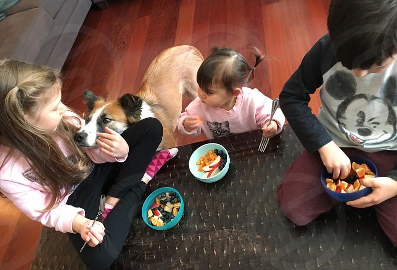Snack time kids siblings photo