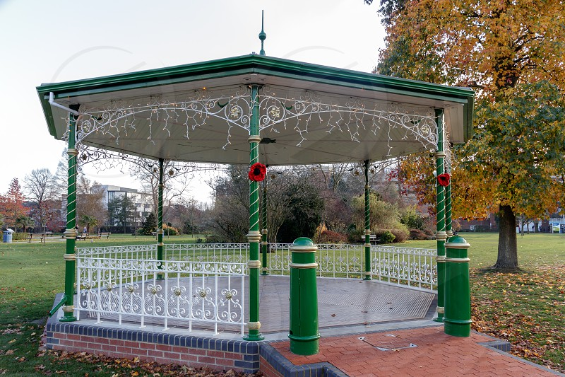 CRAWLEY WEST SUSSEX/UK - NOVEMBER 21 : View of the Bandstand in Crawley West Sussex on November 21 2018. Two unidentified people. photo