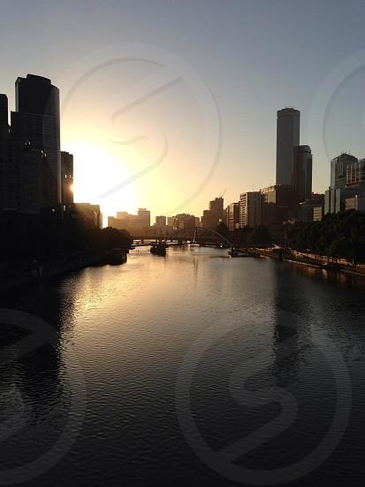 Melbourne city urban sunset photo