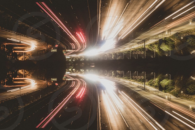 Slow shutter highway trails California night crawler  photo