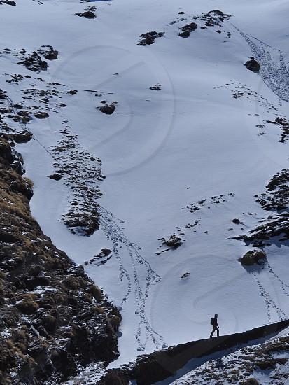 Traveller walks in Indian Himalayas photo