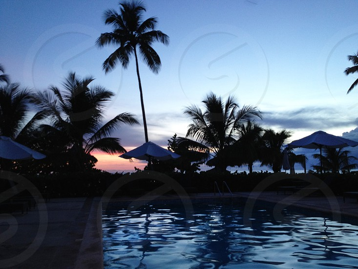 Tropical beach pool vacation sunset holiday relax Caribbean island photo