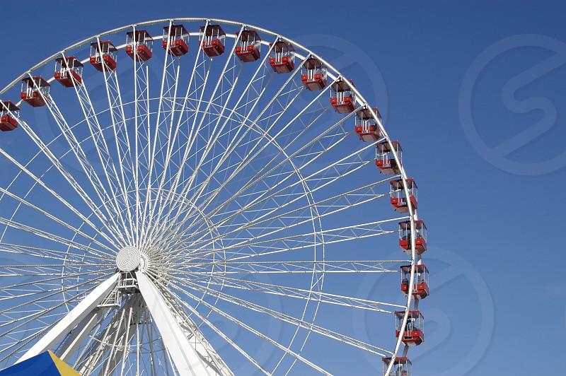 ferris wheel navy pier theme park fun happy amusement photo