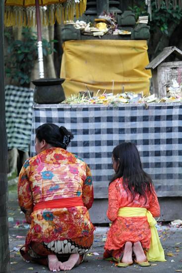 balinese prayers in bali photo