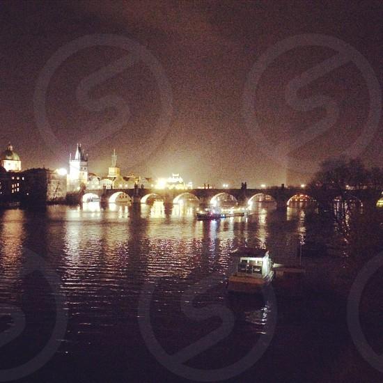 Night view of Prague city!  photo