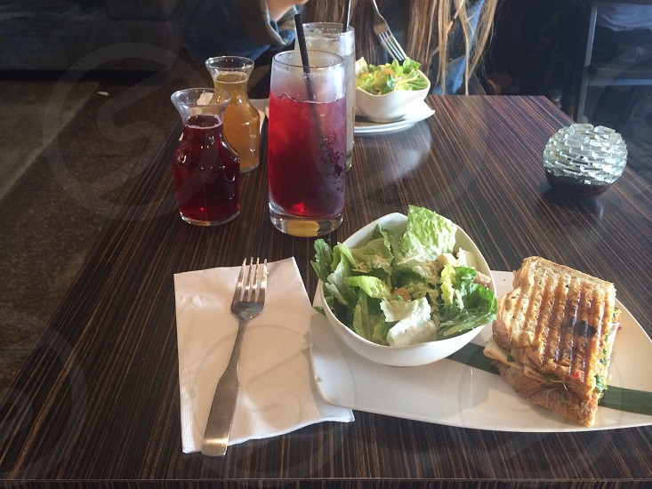 salad with toasted bread on table  photo