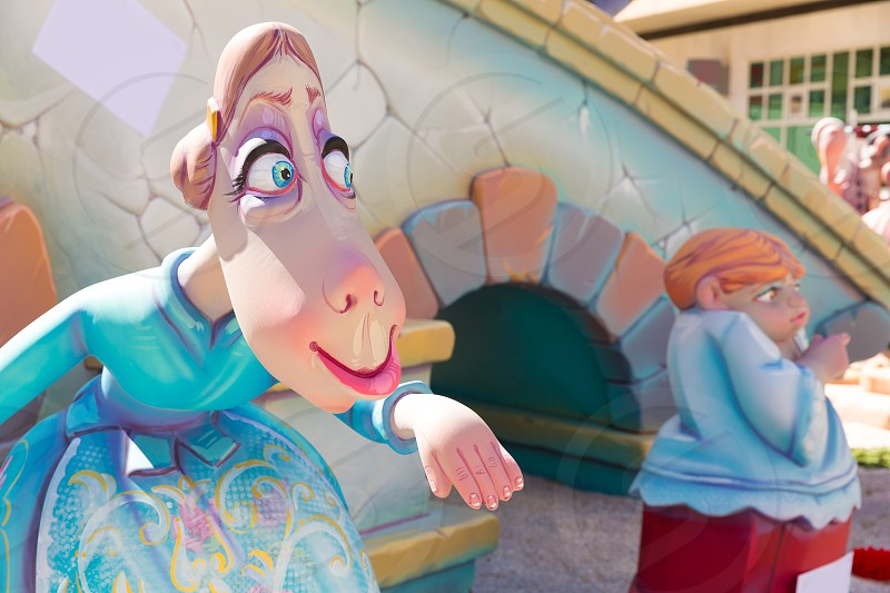 Fallas of Valencia in Denia popular fest figures in Spain photo