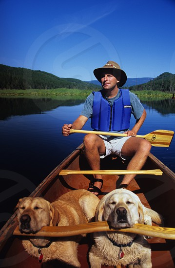 Canoeing with Yellow labs on Lake photo