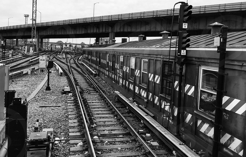 grayscale photo of metal railways beside train under the concrete road bridge during daytime photo