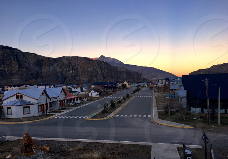 Village townscape street houses mountains sunset village town colorful Patagonia Argentina photo