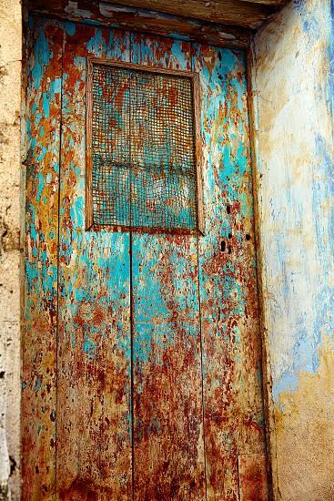 Beceite wooden door textures in Teruel Spain in Matarrana area photo