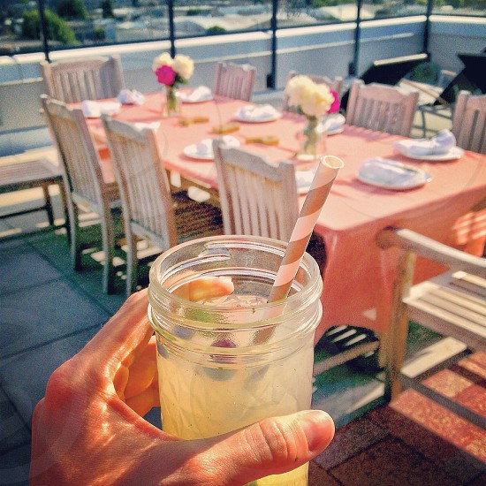 clear drinking jar with straw photo