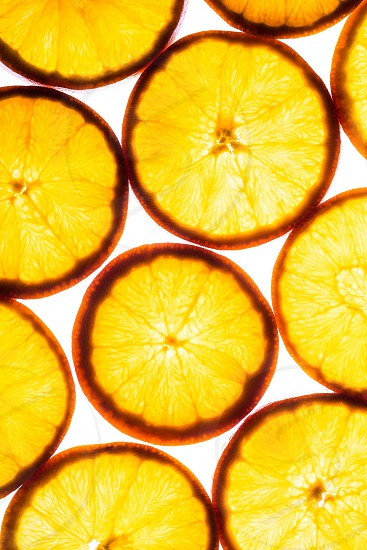 Slices of oranges with backlighting photo