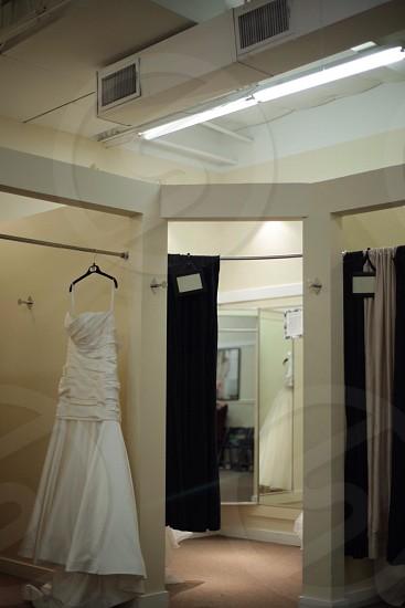 bridal dress hanged photo