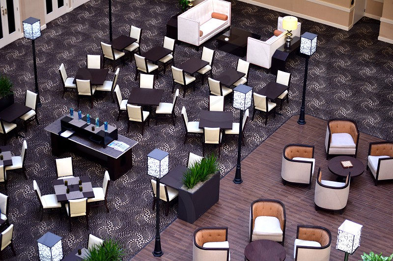 #Pattern #Lobby #Chairs #Tables #Lamps #Leisure #Meeting #Dining #Hotel #Indoors photo