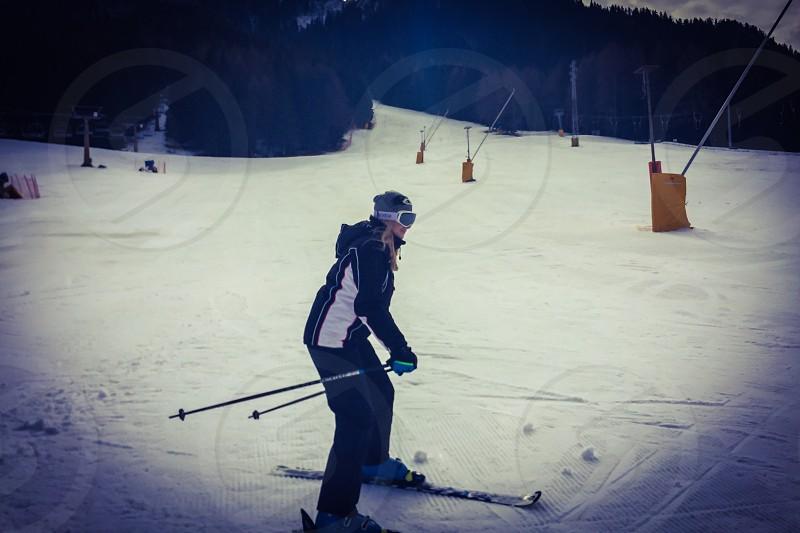 Ski skiing snow slope photo
