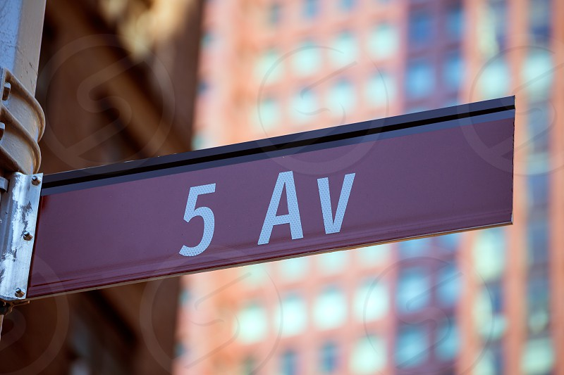 Fift avenue red sign 5 th Av New York Mahnattan USA photo