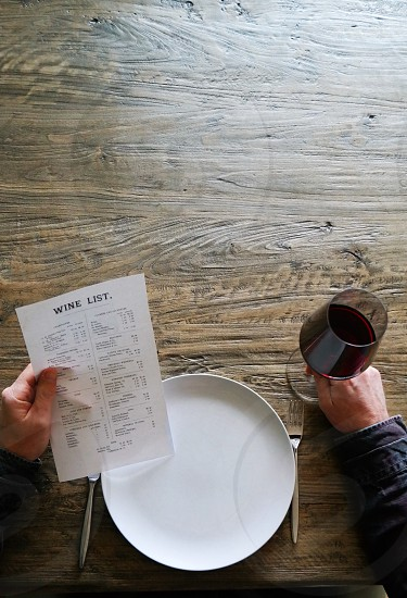 Wine list table photo