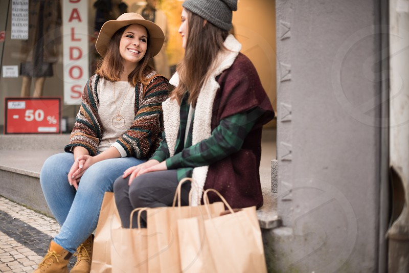 Women shopping in the city - Winter Look photo