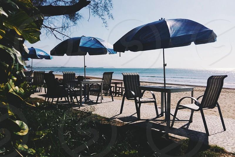 Sabah Malaysia Blue Umbrella summer sea relax photo
