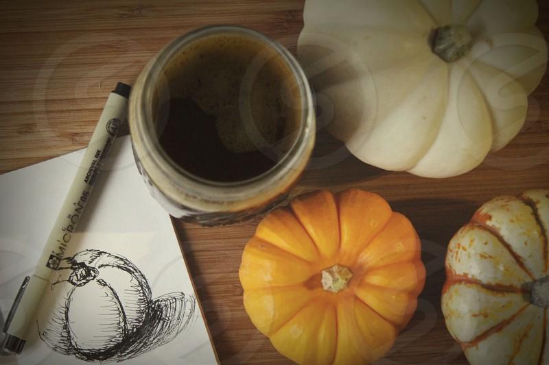 fall pumpkin coffee doodle drawing sketch ink cozy morning pumpkins pumpkin spice homemade photo