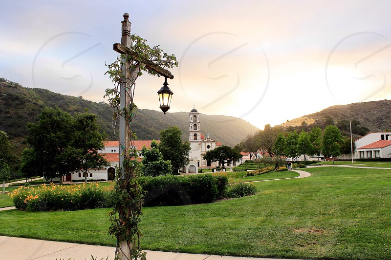 Landscape hike school view sunset tower horizon lamp post color hills mountain mountains green grass beautiful perspective photography sky California Cali SoCal photo