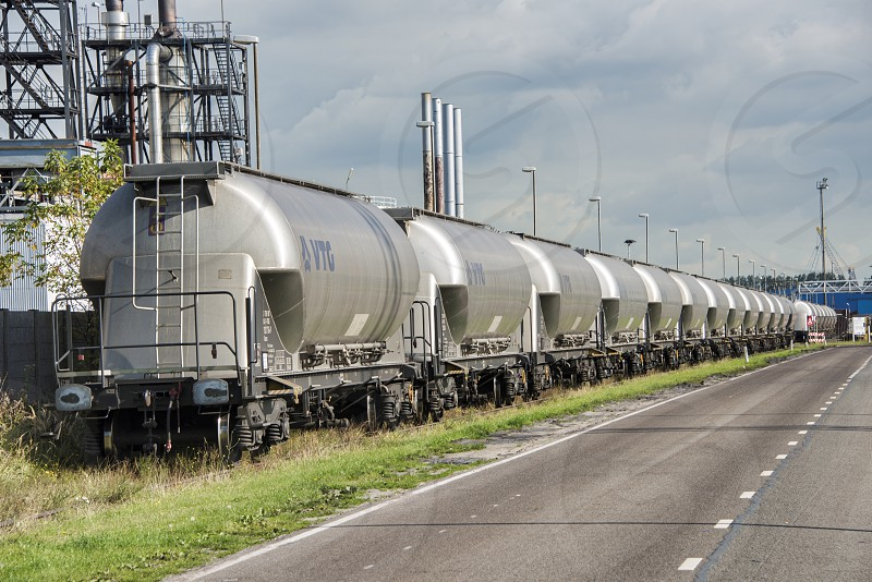industrial train in industry near rotterdam photo