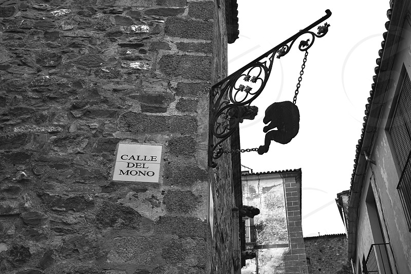 Caceres Calle del mono Monkey street of Spain in Extremadura photo
