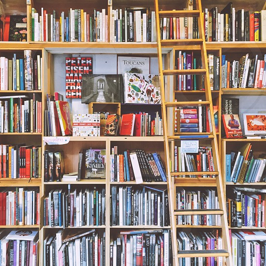 Bookcase with ladder photo