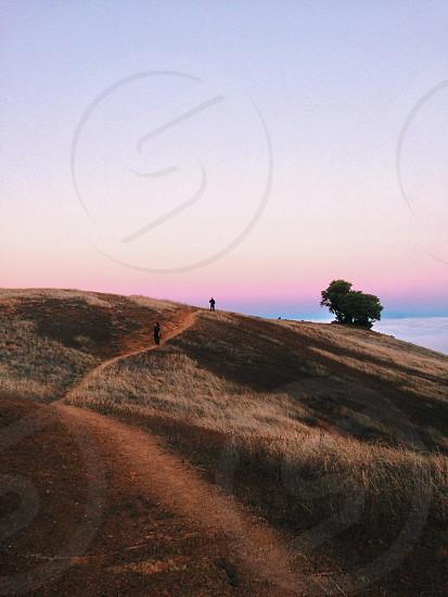 2 people walking on hill photo