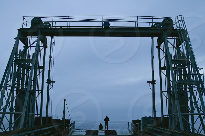 grey metal dock photo