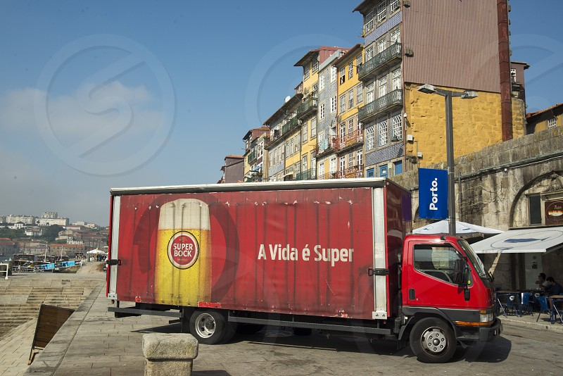 a beer transport  of sagres in Ribeira in the city centre of Porto in Porugal in Europe. photo
